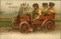 Easter Greetings with Three Chicks in an Automobile