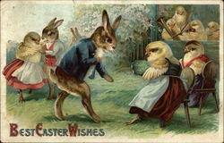 Best Easter Wishes with Chicks and Bunnies wearing Clothes