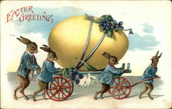 Easter Greetings - Rabbits and Giant Egg