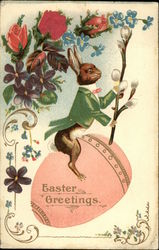 Easter Greetings with Bunny, Egg and Flowers