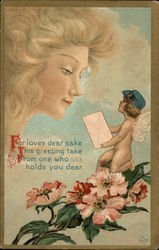 Cupid Delivers Message to Lady
