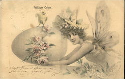 Fairy Holding Egg and Chick Postcard