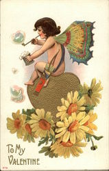 Cupid Blowing Bubbles Sitting On Heart and Daisies
