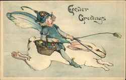 Easter Greetings with Fairy riding Bunny Postcard