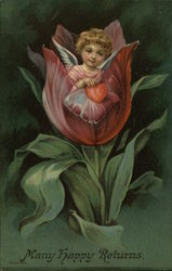 Angel Holding Heart, Sitting in Tulip