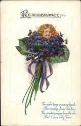 Cupid With Bouquet of Violets