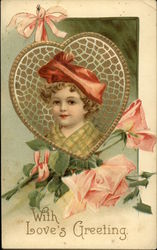 Young Child in Heart Frame and Pink Roses
