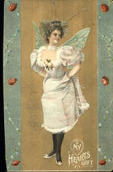 Fairy in White Dress and Green Wings