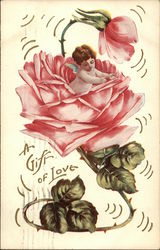 A Gift of Love with Cherub inside a Pink Rose Postcard