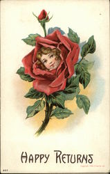 Happy Returns with Girl's Face in Red Rose