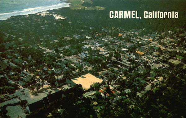 Aerial View of City and Pebble Beach Golf Course Carmel California