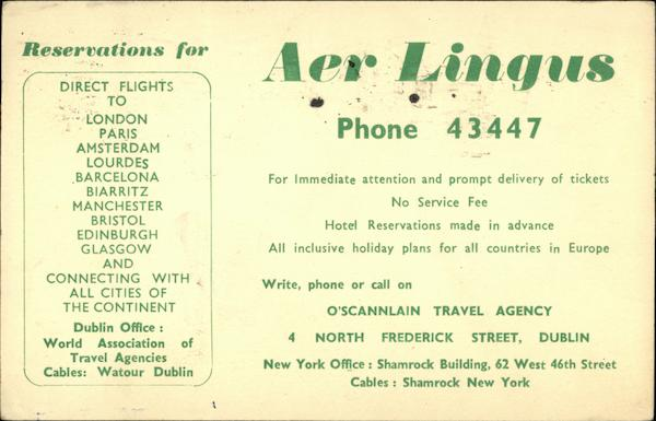 Aer Lingus Reservation Card Dublin Ireland Airline Advertising