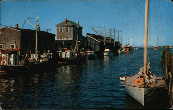 Commercial Wharf With Fishing Boats and Pleasure Craft Nantucket Massachusetts