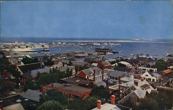 Looking Northeast Across the Roof Tops and Harbor from Cupola of Old South Tower Nantucket Massachusetts