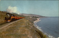 "Southern Pacific ""Daylight"" on the shore of the Pacific Ocean"