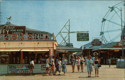 "Boardwalk Scene - ""Post Cards"" Sign"