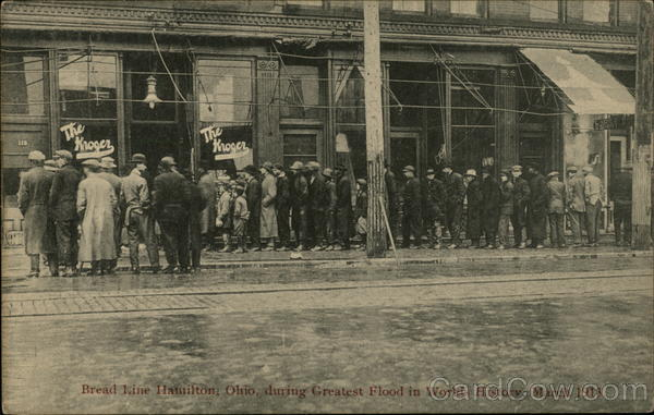 Bread Line during World's Greatest Flood, 1913 Hamilton Ohio
