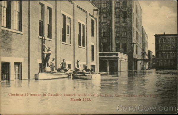 Cincinnati Firemen in Gasoline Launch ready to Run to Fire - March 1913 Flood Ohio