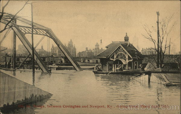 Bridge Between Covington and Newport, Ky., During Great Flood April 1913 Kentucky