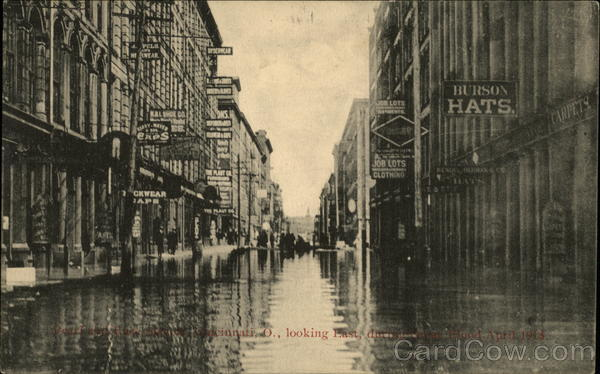 Pearl and Race Streets, April 1913 Flood Cincinnati Ohio