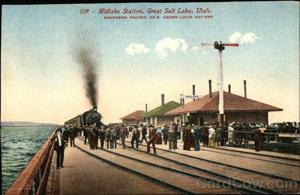 Midlake Station, Southern Pacific Co's Ogden Lucin cut-off Great Salt Lake Utah