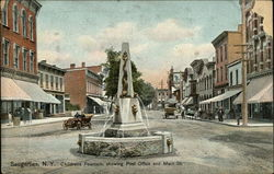 Childrens Fountain showing Post Office and Main Street