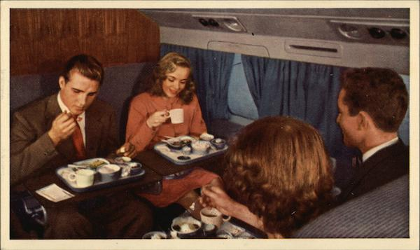 Dinner aboard a United flight Airline Advertising