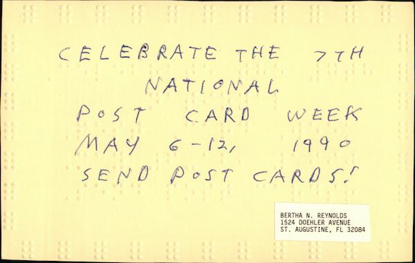 Braille - Celebrate the 7th National Post Card Week May 6-12 1990, Send Post Cards!