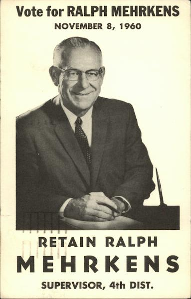 Vote for Ralph Mehrkens, November 8, 1960 Political