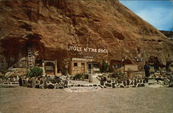 Hole 'N The Rock Home - Rock Garden and Entrance Postcard