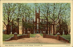 F. & M. College - Main Building and Entrance Postcard