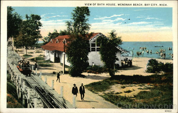 View of bath house wenonah beach bay city mich michigan for Bath house michigan