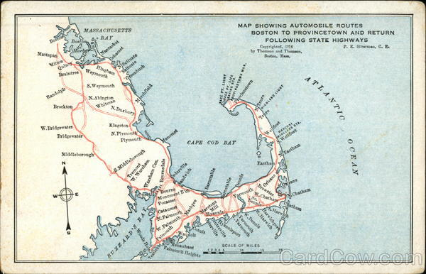 Map Showing Automobile Routes Boston to Provincetown and Return Following State Highways Cape Cod Massachusetts
