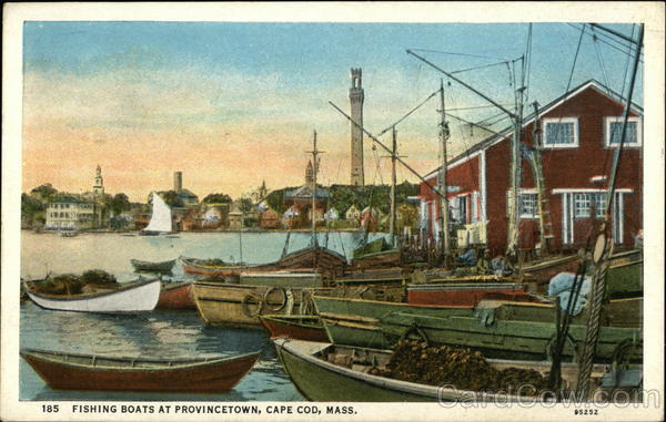 1934 provincetown ma fishing boats in the water on cape for Cape cod fishing party boats