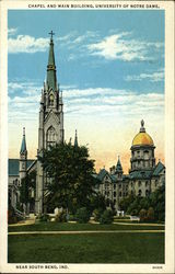 Chapel and Main Building, University of Notre Dame, Near South Bend, Ind Postcard