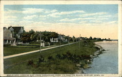 Boulevard, Looking East from Chesapeake Ferry on Hampton Roads Postcard