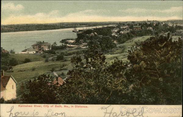 Kennebec River and City in Distance Bath Maine