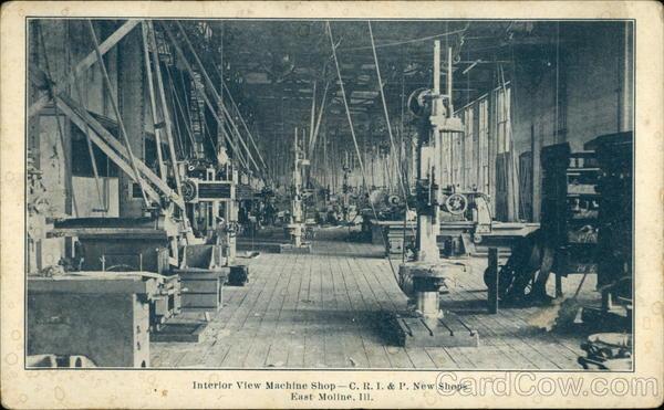 Interior View Machine Shop - CRI&P, New Shops East Moline Illinois