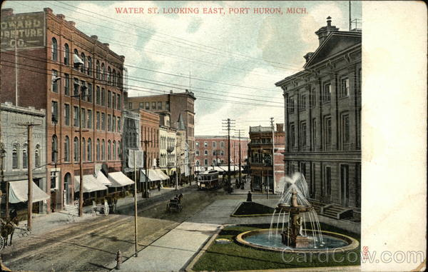Water Street, Looking East Port Huron Michigan