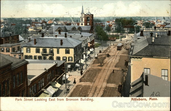 Park Street Looking East from Bronson Building Attleboro Massachusetts