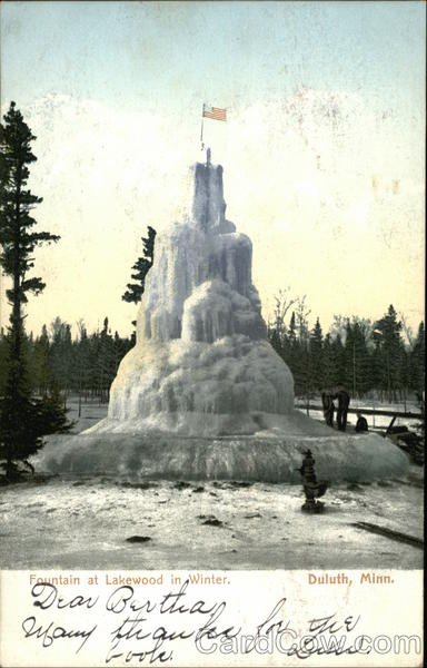 Fountain at Lakewood in Winter Duluth Minnesota