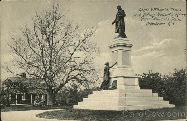 Roger William's Statue and Betsey William's House at Roger William's Park Providence Rhode Island