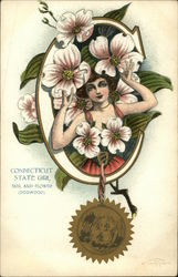 Connecticut State Girl Seal and Flower