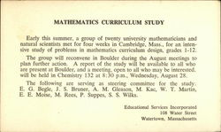 Mathematics Curriculum Study, Educational Services Inc