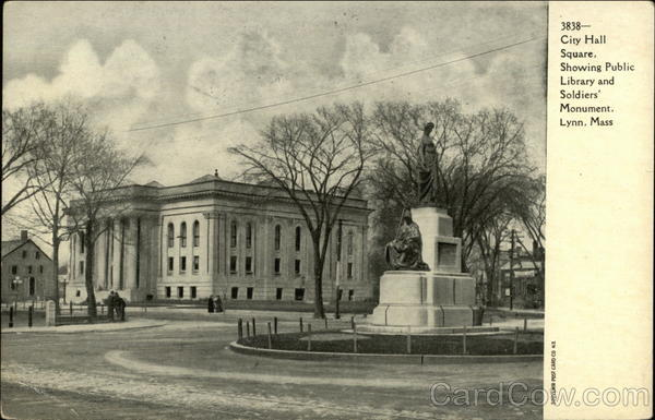 City Hall Square showing Public Library and Soldiers Monument Lynn Massachusetts