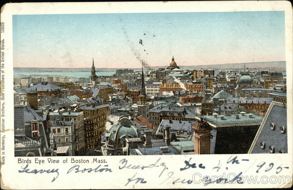 Bird's Eye View of City Boston Massachusetts Copper Windows