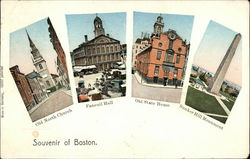 Souvenir of Boston, Old North Church, Faneuil Hall, Old State House, Bunker Hill Monument