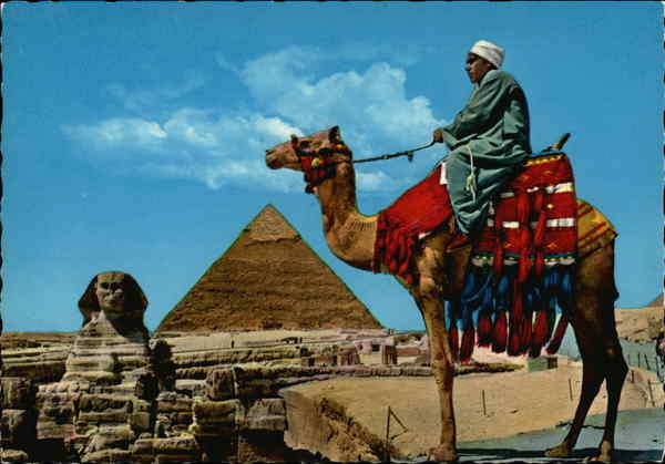 The Great Sphinx of Giza and Khefren Pyramid Cairo Egypt