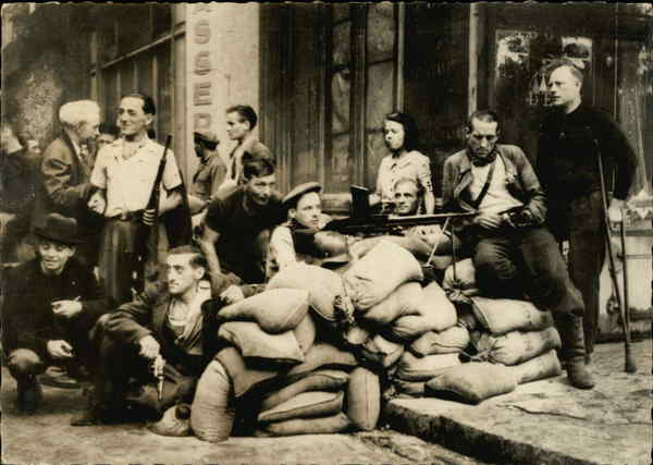 The liberation of Paris. Barricade in the Cite District France