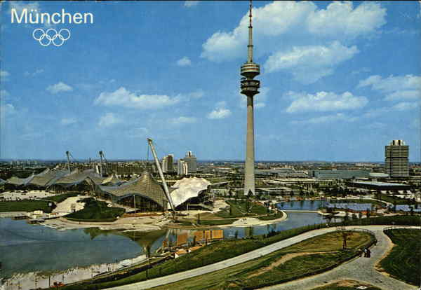 The Olympic Park and the Olympic Tower in Munich Germany